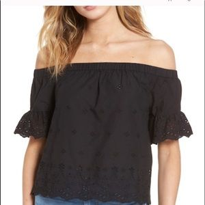 Madewell Black off shoulder blouse size XS